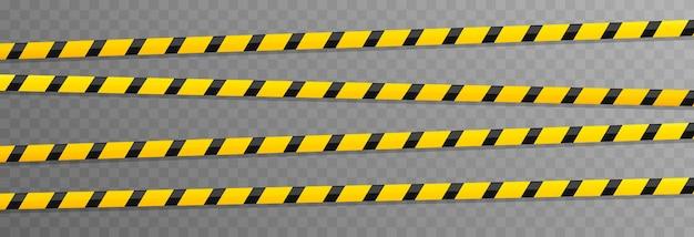 Conjunto de vetores de fitas de advertência fita amarela de fita policial da zona de perigo.
