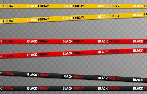 Conjunto de vetores de fitas pretas sexta-feira venda preto sexta-feira com desconto publicidade fita png