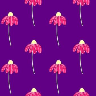 Conjunto de vetores de flores de camomila rosa em fundo roxo verão primavera outono padrão sem emenda