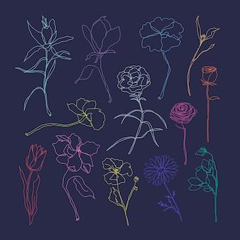 Conjunto de vetores de flores desenhadas à mão arte colorida de linha única