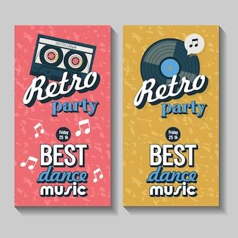 Conjunto de vetores de folhetos, cartazes. festa retrô. a melhor música de dança.