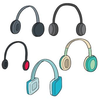 Conjunto de vetores de fone de ouvido
