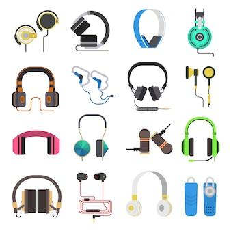 Conjunto de vetores de fones de ouvido.