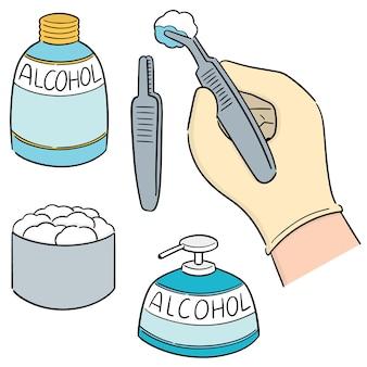 Conjunto de vetores de forcep, álcool e algodão estéril