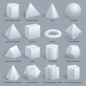 Conjunto de vetores de formas 3d básicas branco realista