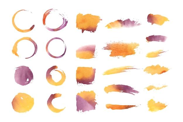 Conjunto de vetores de formas geométricas em aquarela