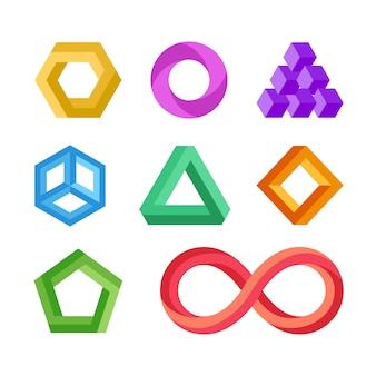 Conjunto de vetores de formas geométricas impossíveis