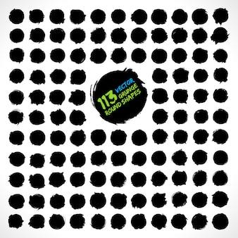 Conjunto de vetores de formas redondas grunge