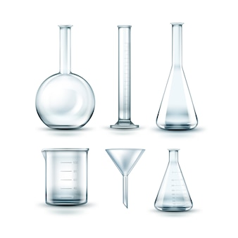 Conjunto de vetores de frascos de laboratório químico de vidro transparente vazio, funil e tubo de ensaio isolado no fundo