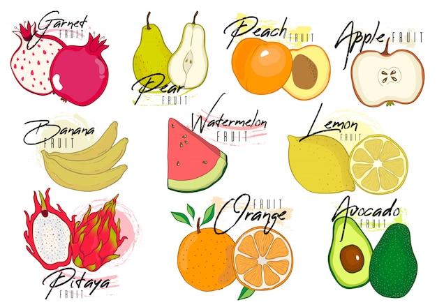 Conjunto de vetores de frutas coloridas dos desenhos animados