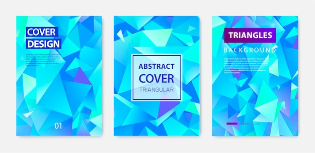 Conjunto de vetores de fundo abstrato poligonal triângulo, capas azuis de cristal de faceta, folhetos, brochuras. projeto gradiente colorido. banner de forma de baixo poli.