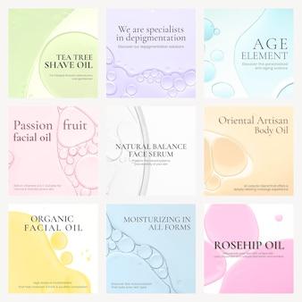 Conjunto de vetores de fundo de bolha de óleo modelo post instagram