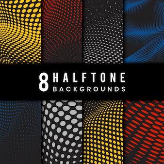 Conjunto de vetores de fundo de meio-tom ondulado colorido e preto