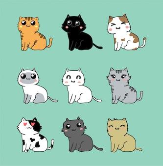Conjunto de vetores de gato fofo kawaii