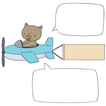 Conjunto de vetores de gato no avião