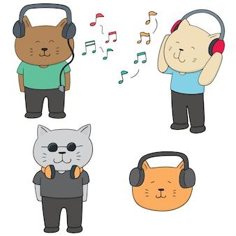 Conjunto de vetores de gato ouvindo música