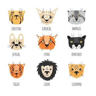 Conjunto de vetores de gatos selvagens em estilo escandinavo