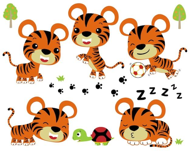 Conjunto de vetores de giro pequeno tigre e amigo