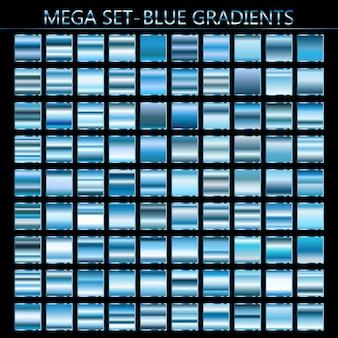 Conjunto de vetores de gradientes azuis. coleção de fundos azul.