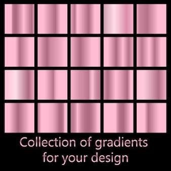 Conjunto de vetores de gradientes de metal colorido ouro rosa.