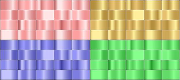 Conjunto de vetores de gradientes de metal coloridos.