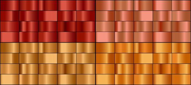 Conjunto de vetores de gradientes de metal ouro e bronze.