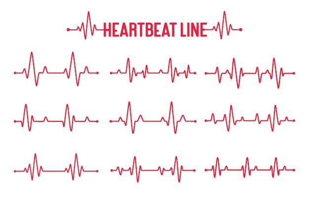Conjunto de vetores de gráfico de batimento cardíaco conceito de ajudar os pacientes e fazer exercícios para a saúde.