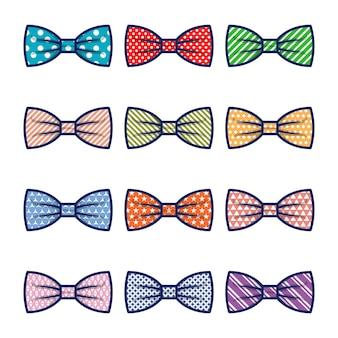 Conjunto de vetores de gravata borboleta clássica dos desenhos animados, isolado no fundo branco
