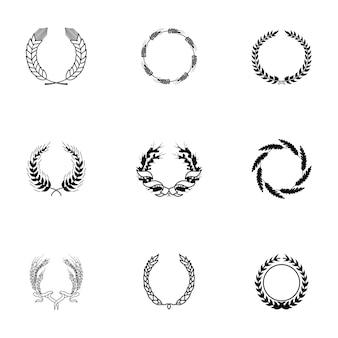 Conjunto de vetores de grinalda. ilustração em forma de coroa de flores simples, elementos editáveis, que podem ser usados no design de logotipo
