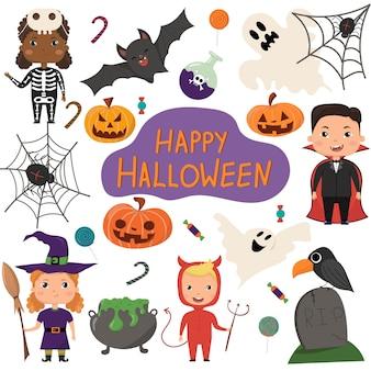 Conjunto de vetores de halloween crianças em fantasias de halloween