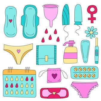 Conjunto de vetores de higiene feminina ilustração em vetor coleção de desenhos animados desenhados à mão
