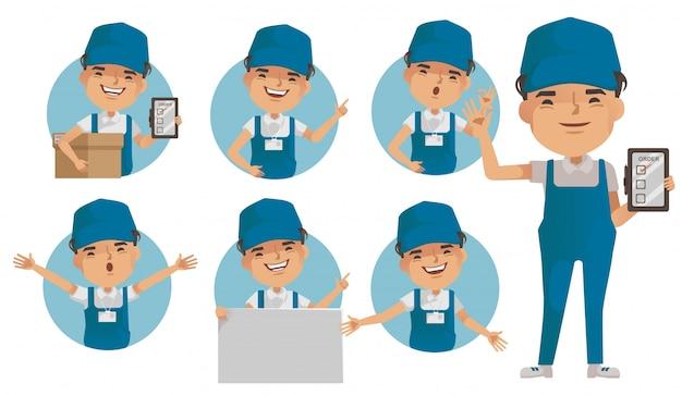 Conjunto de vetores de homem de entrega. uniforme de entregador segurando a caixa ou produto. postura de pé e segurando ou apontando.