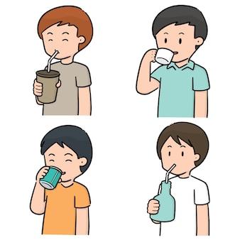Conjunto de vetores de homens bebendo