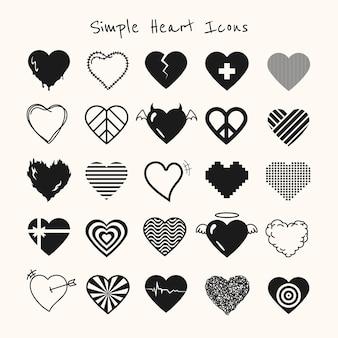 Conjunto de vetores de ícone de coração preto simples
