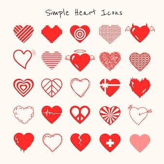 Conjunto de vetores de ícone de coração vermelho simples