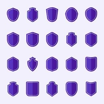 Conjunto de vetores de ícone de escudo roxo