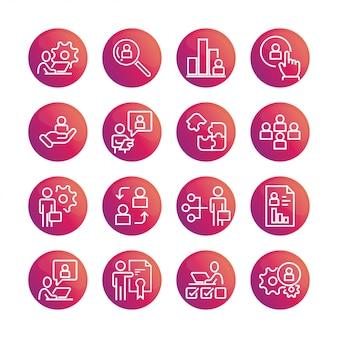 Conjunto de vetores de ícone de gestão de negócios de gradiente de cor.
