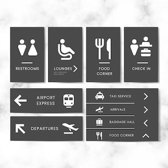 Conjunto de vetores de ícone de sinais de aeroporto