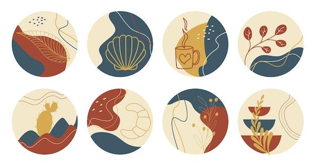 Conjunto de vetores de ícones boho redondos e emblemas para capas de destaques de histórias de mídia social. modelos de design da moda desenhados à mão para blogueiros, designers e fotógrafos.