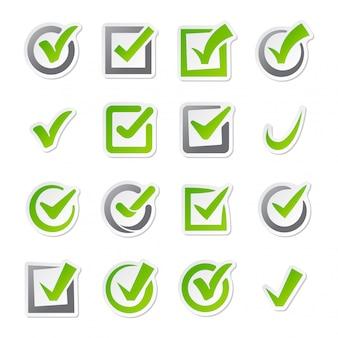 Conjunto de vetores de ícones de caixa de seleção.