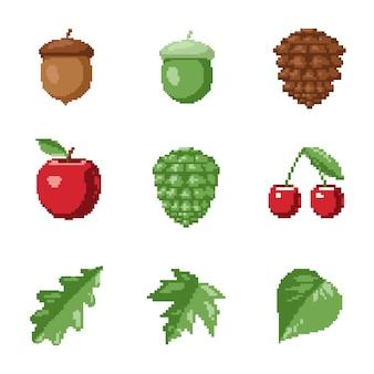 Conjunto de vetores de ícones de floresta no estilo de 8 bits