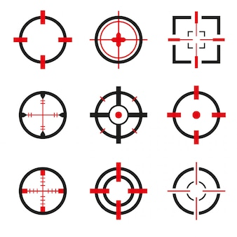 Conjunto de vetores de ícones de mira isolado