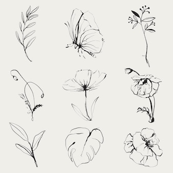 Conjunto de vetores de ilustração de doodle de flores, remixado de imagens vintage de domínio público