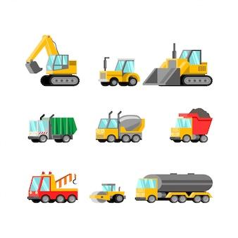 Conjunto de vetores de ilustração plana de veículo pesado