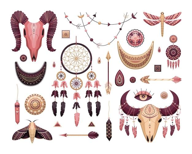 Conjunto de vetores de ilustrações boho. estilo simples. dreamcathers, crânio de animal, penas e flechas