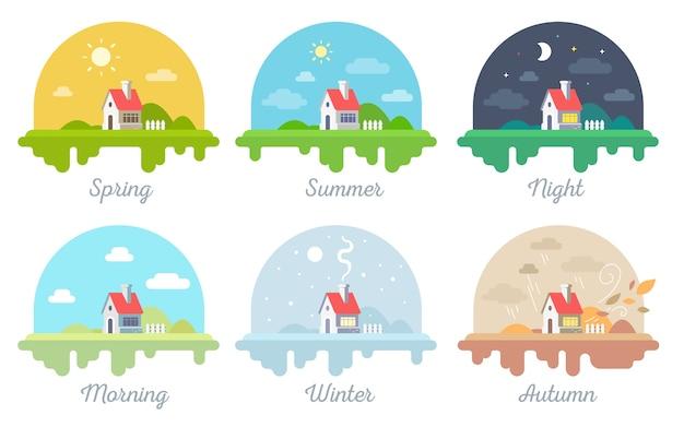 Conjunto de vetores de ilustrações de uma bela casa com chaminé e cerca. quatro paisagens rurais sazonais com inscrição
