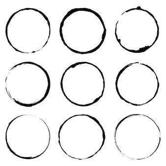 Conjunto de vetores de imagem de conceito do grunge círculo escova vector ilustração