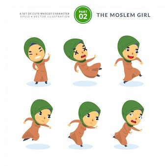 Conjunto de vetores de imagens dos desenhos animados da menina muçulmana. segundo conjunto. isolado