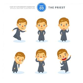 Conjunto de vetores de imagens dos desenhos animados de um padre. terceiro conjunto. isolado