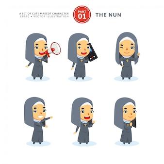 Conjunto de vetores de imagens dos desenhos animados de uma freira. primeiro set. isolado